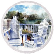 Adirondack Chairs Too Round Beach Towel