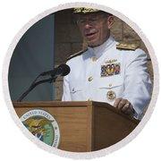 Admiral Mike Mullen Speaks Round Beach Towel by Michael Wood
