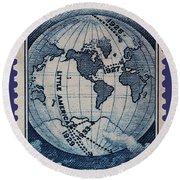 Admiral Richard Byrd Postage Stamp Round Beach Towel