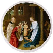 Adoration Of The Christ Child  Round Beach Towel