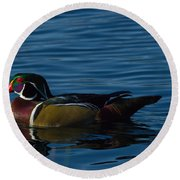 Adult Male Wood Duck Round Beach Towel
