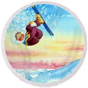 Aerial Skier 13 Round Beach Towel