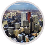 Aerial View From Cn Tower Toronto Ontario Canada Round Beach Towel