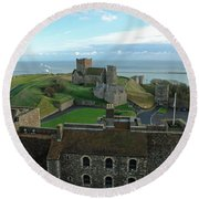 Aerial View Of Dover Castle Round Beach Towel