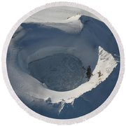 Aerial View Of Frozen Lake In Summit Round Beach Towel by Richard Roscoe