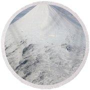 Aerial View Of Glaciated Shishaldin Round Beach Towel by Richard Roscoe