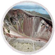 Aerial View Of Rhyolite Dome Complex Round Beach Towel by Richard Roscoe