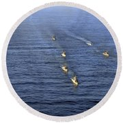 Aerial View Of Ships In Formation Round Beach Towel
