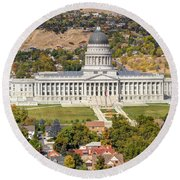Aerial View Of Utah State Capitol Building Round Beach Towel by Gary Whitton