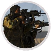 Afghan National Army Commandos Aim Round Beach Towel