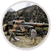 Afghan National Army Soldiers Unload Round Beach Towel