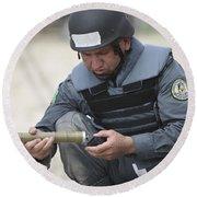 Afghan Police Student Prepares Round Beach Towel