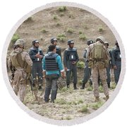 Afghan Police Students Listen To U.s Round Beach Towel