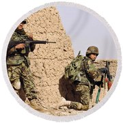 Afghan Soldiers Conduct A Dismounted Round Beach Towel by Stocktrek Images
