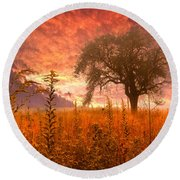 Aflame Round Beach Towel by Debra and Dave Vanderlaan