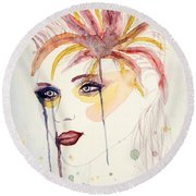 After The Show Watercolor On Paper Round Beach Towel