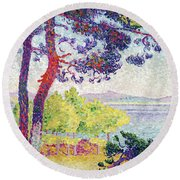 Afternoon At Pardigon Round Beach Towel