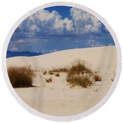 Afternoon At White Sands National Monument Round Beach Towel