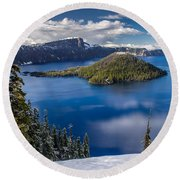 Afternoon Clearing At Crater Lake Round Beach Towel