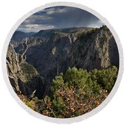 Afternoon Clouds Over Black Canyon Of The Gunnison Round Beach Towel