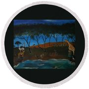Afternoon In The Serengeti Round Beach Towel