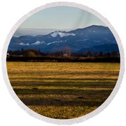 Afternoon Shadows Across A Rogue Valley Farm Round Beach Towel