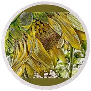 Afternoon Sunflower Round Beach Towel