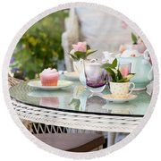Afternoon Tea And Cakes Round Beach Towel
