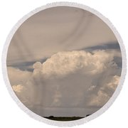 Afternoon Thunderstorm Building Boulder County Co Plains  Round Beach Towel