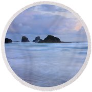 Against The Tides Round Beach Towel