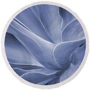 Agave In Blue Round Beach Towel