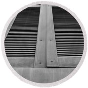 Aged Shutters Round Beach Towel