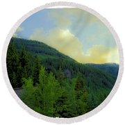 Ah To Live On Vail Mountain Round Beach Towel