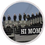 Ailors And Marines Man The Rails Aboard Round Beach Towel by Stocktrek Images