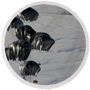 Air Delivery Cargo Is Released Round Beach Towel