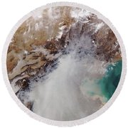 Air Pollution Over China Round Beach Towel