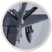 Air Refueling A F-15e Strike Eagle Round Beach Towel by Daniel Karlsson