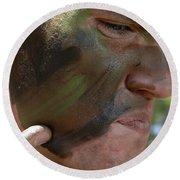 Airman Applies War Paint To His Face Round Beach Towel
