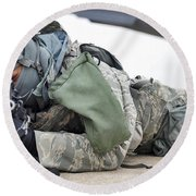 Airman Provides Security At Whiteman Round Beach Towel by Stocktrek Images