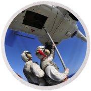 Airmen Attach Pallet Rigs To An Sa-330j Round Beach Towel