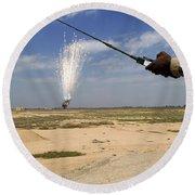 Airmen Conduct A Controlled Detonation Round Beach Towel