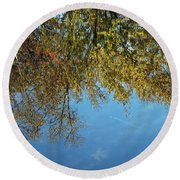 Airplane Reflections Round Beach Towel