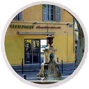 Aix En Provence Fountain Round Beach Towel