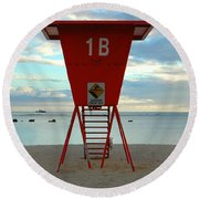 Ala Moana Lifeguard Station Round Beach Towel