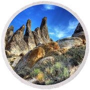 Alabama Hills Granite Fingers Round Beach Towel by Bob Christopher