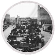 Alamo Plaza In San Antonio Round Beach Towel