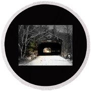 Albany Covered Bridge  Round Beach Towel