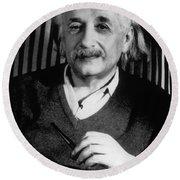 Albert Einstein, German-american Round Beach Towel
