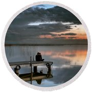 Albufera. Couple. Valencia. Spain Round Beach Towel
