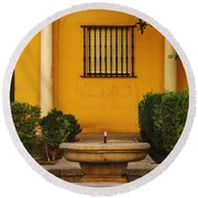 Alcazar Fountain In Spain Round Beach Towel